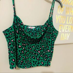 Supre Cowl neck green and black animal print blouse - Size :16